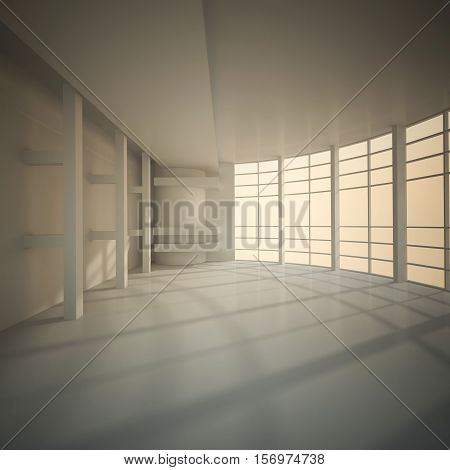 3d illustration. White interior of nonexistent building. Circular hall with transparent wall multilevel ceiling and and external light. Sunset yellow light. Render.