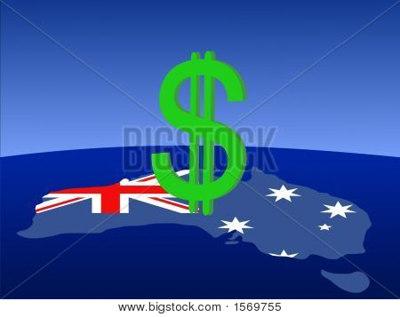Dollar Sign With Australian Map