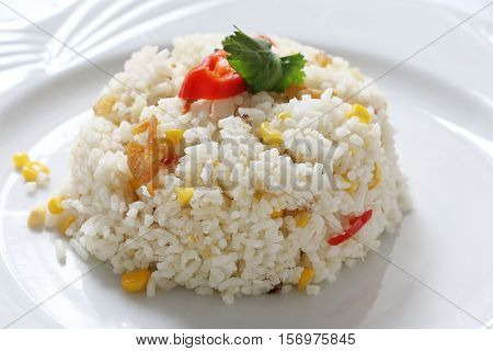 Fried rice with corn and dried shrimp