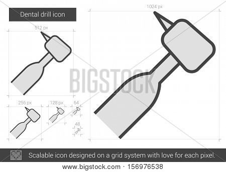 Dental drill vector line icon isolated on white background. Dental drill line icon for infographic, website or app. Scalable icon designed on a grid system.