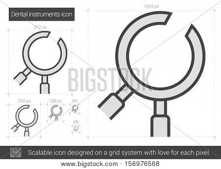 Dental instruments vector line icon isolated on white background. Dental instruments line icon for infographic, website or app. Scalable icon designed on a grid system.