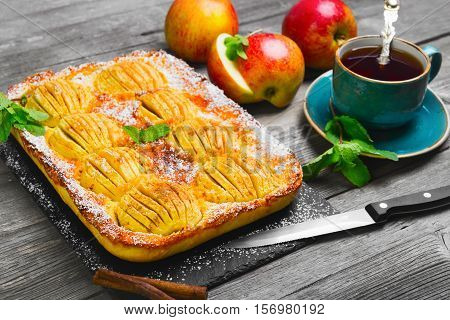 Homemade apple cake pie. Ingredients for apple pie Cinnamon sticks fresh apples mint. Blue cup with apple tea to pie. Gray wooden background.