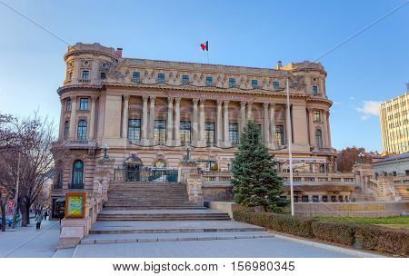 BUCHAREST, ROMANIA - DECEMBER 31: The Palace of the National Military Circle on December 31, 2015 in Bucharest. Considered a historic monument It was built in 1911 by architect Dimitrie Maimarolu.