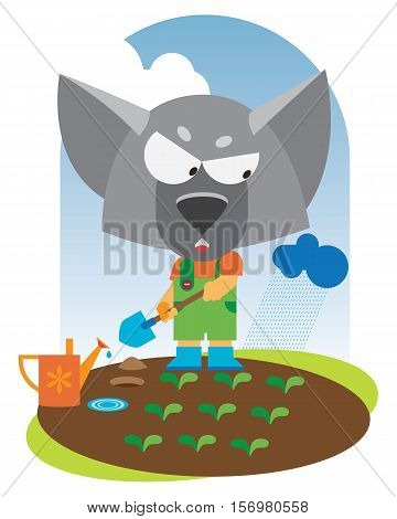 animal baby is wolfling with shovel.vector illustration