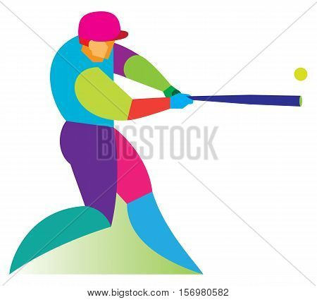 Man is Baseball player. Batter. vector illustration