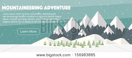 Vector flat mountains panoramic illustration. Mountaineering winter banner, web design. High mountains, fir trees, snowfall. Mountaineering adventure, banner web.