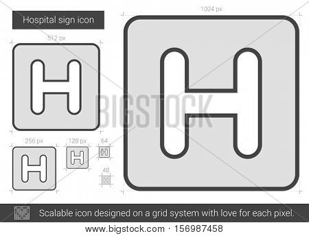 Hospital sign vector line icon isolated on white background. Hospital sign line icon for infographic, website or app. Scalable icon designed on a grid system.