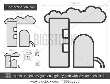 Contamination vector line icon isolated on white background. Contamination line icon for infographic, website or app. Scalable icon designed on a grid system.