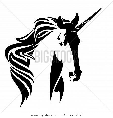 beautiful unicorn horse head black and white vector design