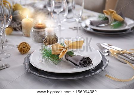 Table served for Christmas dinner, close up view
