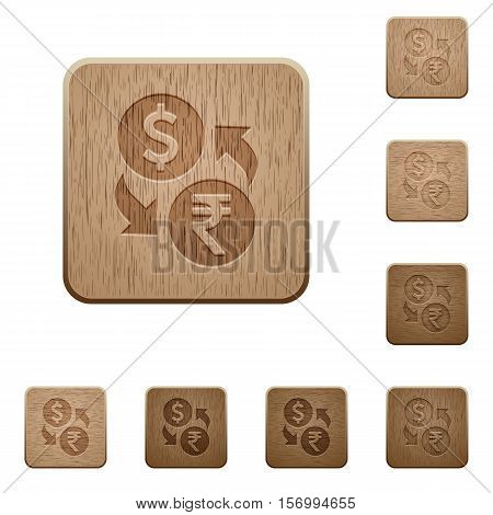 Dollar Rupee exchange icons in carved wooden button styles