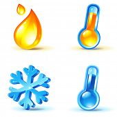 temperature icons : heating and cooling