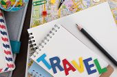 Travel Planning With Travel Word Alphabet. Template With Planning Items On Traveler Workplace. Plann poster