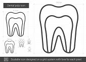 Постер, плакат: Dental pulp vector line icon isolated on white background Dental pulp line icon for infographic we
