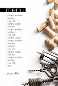 Corkscrews and corks. Project of a wine menu.