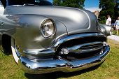HAAPSALU, ESTONIA - JULY 18: American Beauty Car Show, showing grey 1952 Buick Super, front detail o