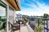 Apartment House Exterior In Seattle. Balcony View. poster