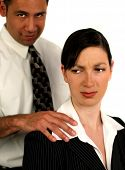 foto of inappropriate  - Businessman sexually harassing female coworker - JPG