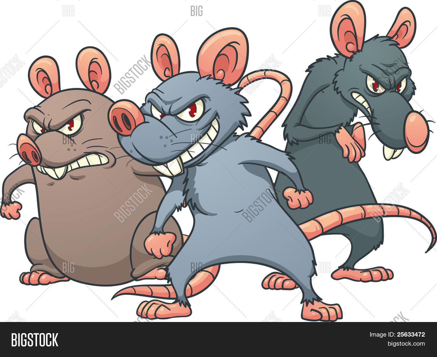Three Evil Looking Cartoon Rats. Vector & Photo | Bigstock