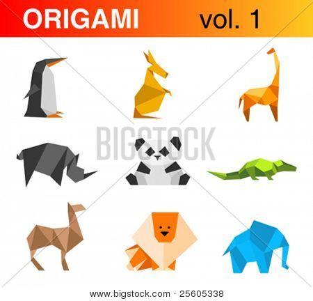 Origami Logo 1: penguin, kangaroo, giraffe, rhinoceros, panda, crocodile, camel, lion, elephant