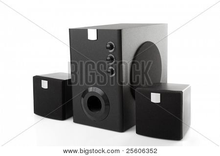 black speakers and woofer isolated on white background