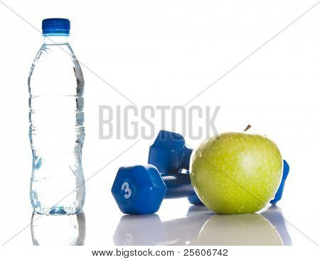 dumbbells, green apple and a bottle of water