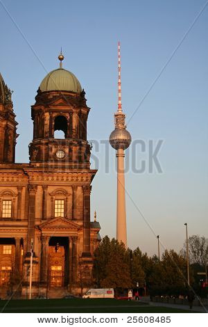 tv tower and berlin church dome
