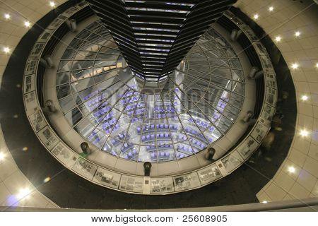 above view of the interior of the reichstag, berlin, germany