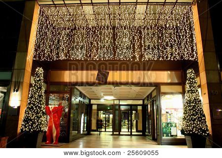 entrance to department store during christmas celebrations