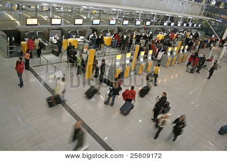 passengers queuing up for check-in