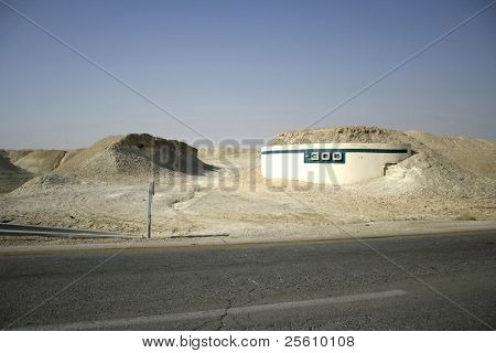 -300m altitude mark on the road leading to the dead sea region