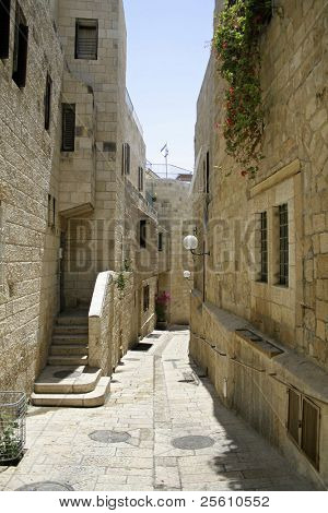 little back street in the old city of jerusalem, israel