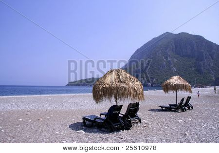 sun loungers and palm parasol