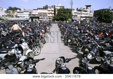 scene at parking lot in chandni chowk, old delhi,  india