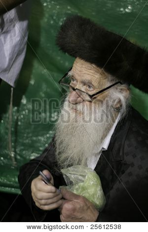 MERON, ISRAEL - MAY 5: Old Lag Ba'omer pilgrim with beard during the festivities May 5, 2007 in Meron. Lag Ba'omer is a Jewish holiday where thousands of Jews make pilgrimage to Meron.