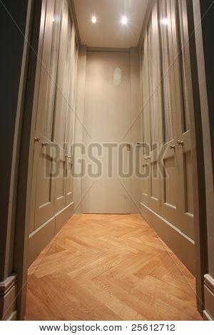 Modern walk-in wardrobe with wooden parquet floor