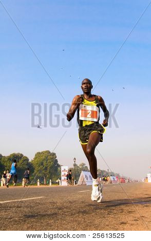 DELHI - OCTOBER 28: African athlete competes in the Delhi Half Marathon on October 28, 2007 in Delhi, India. The inaugural edition had total prize money of US$310,000 to attract high calibre athletes.