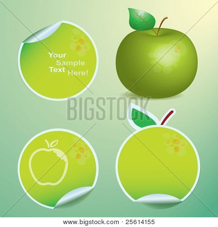 Set of nature tags,green apple stickers