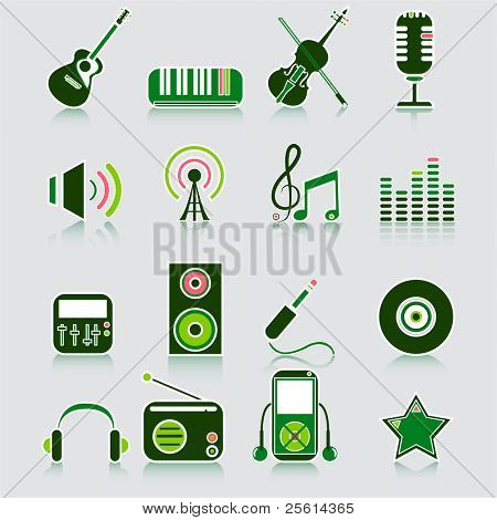 music icons, vector
