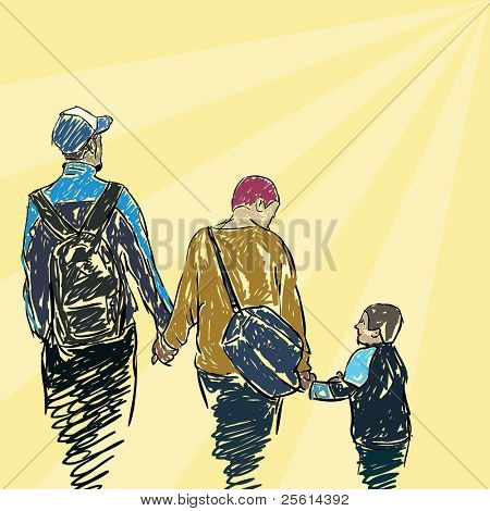 family walking together, vector