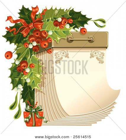 Christmas tear-off calendar with holly-berry and mistletoe