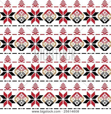 Ethnic black and red ornament seamless pattern - raster version