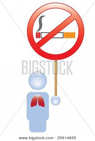 Icon with red lungs holding no smoking sign