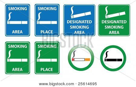 Set of smoking area signs