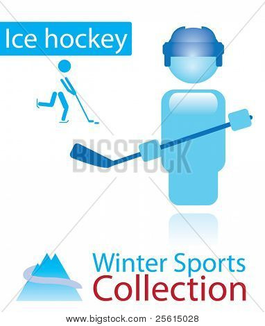 Ice hockey from winter sports collection. sign and person icon.