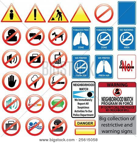 Big collection of restrictive and warning signs