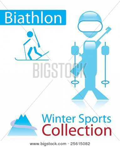 Biathlon from winter sports collection. sign and person icon. Raster version (vector available)