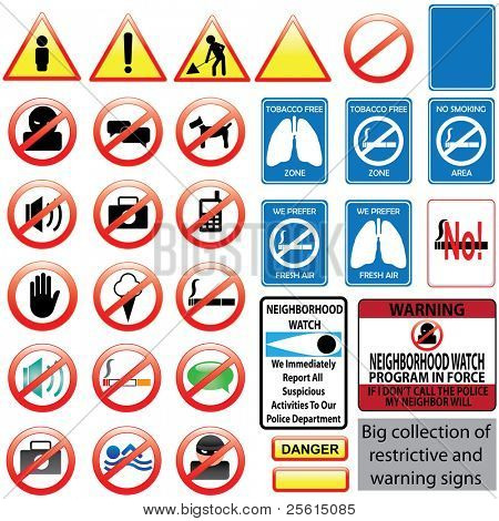 Big collection of restrictive and warning signs. Raster version (vector available)