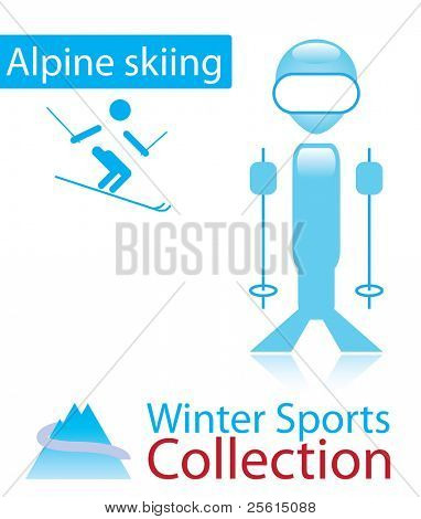 Alpine skiing from winter sports collection. sign and person icon. Raster version (vector available)