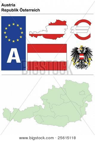 Austria collection including flag, plate, map (administrative division), symbol, currency unit & coat of arms